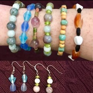 Lot 8 Bead Stone Bracelets & Earrings Boho Marble